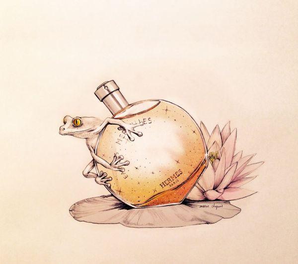 marie chapuis illustration eau des merveilles hermes fragrance perfume luxury frog