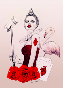queen of hearts, wonderland, illustration, marie chapuis
