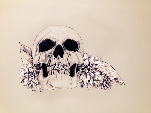 skull still life ring diamond illustration marie chapuis