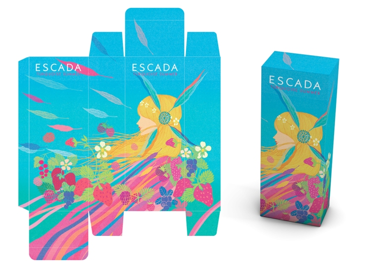 escada fragrance packaging art direction perfume limited edition turquoise summer marie chapuis